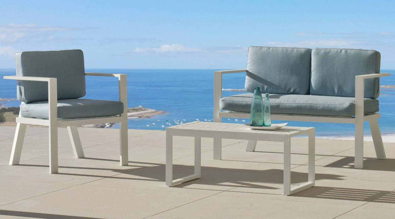 Ensemble Salon Sofa De Jardin AWENA 7 en ALUMINIUM BLANC Coussins couleur  VERT MIRTA INDOOR OUTDOOR 31463