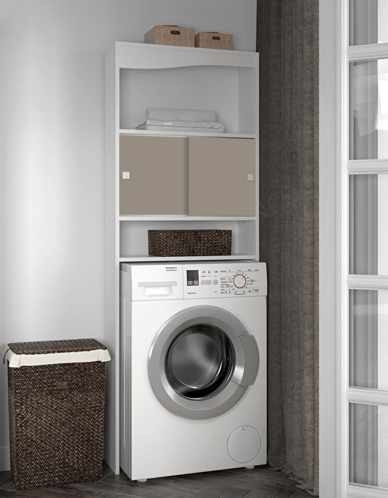MEUBLE WC MACH A LAV BLANC TAUPE Wave SYMBIOSIS 6090A2191A17