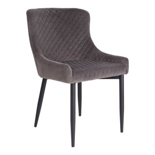 Chaise en velour gris avec piètement noir - Collection Boston - House Nordic