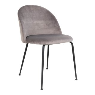 Lot de 2 chaises en velour gris avec piètement noir - Collection Geneve - House Nordic