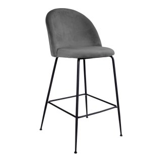 Lot de 2 chaises de bar en velour gris avec piètement noir - Collection Lausanne - House Nordic