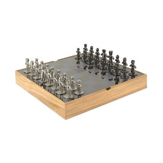 UMBRA Buddy chess. Echiquier Buddy, en bois naturel et métal. Dimension 33x33x3.8cm