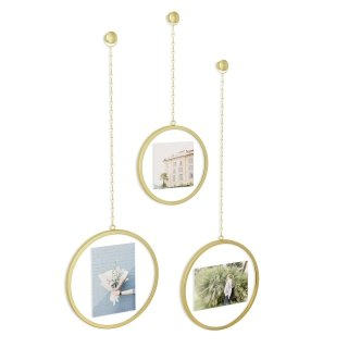 UMBRA  Fotochain frame. Lot de 3 cadres ronds, doré, pour 1 photo 10x10cm et 2 photos 10x15cm.