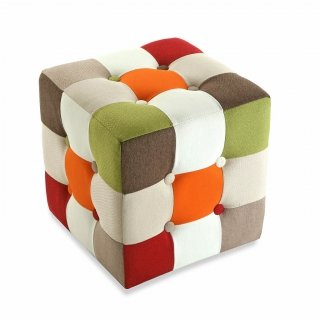 TABOURET CUBE PATCHW. ROUGE VERSA 19500461