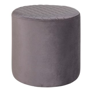 Pouf rond en velour gris - Collection Ejby - House Nordic