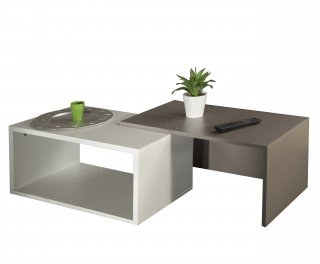 TABLE BASSE BLANC TAUPE Box SYMBIOSIS 2005A0100X00