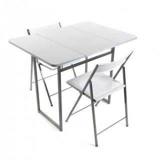 TABLE PLIANTE+2 CHAISES BLANCH VERSA 19840050