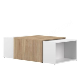TABLE BASSE MODULABLE CHENE NAT/BLANC Domino SYMBIOSIS 2066A0300X00