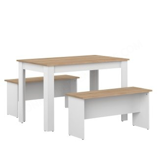 LOT 2 BANCS AVEC TABLE DE CUISINE BLANC SYMBIOSIS 2281A2134X00