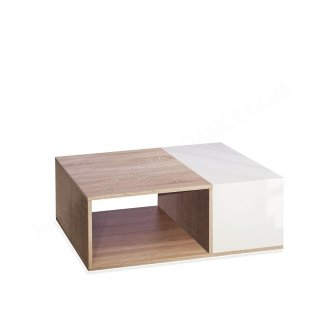 TABLE BASSE BIVOLUME CHENE NATUREL ET BLANC Boston SYMBIOSIS 2300A0300X00