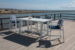 Ensemble Salon A Manger ANALIE 180-4 en ALUMINIUM BLANC Coussins couleur MARINE RAYE MARINE INDOOR OUTDOOR 28137