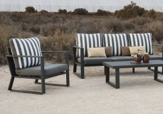 Ensemble Salon Sofa De Jardin AYANA 8 en ALUMINIUM ANTHRACITE Coussins couleur GRIS FONCE INDOOR OUTDOOR 29433
