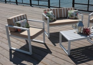 Ensemble Salon Sofa De Jardin ANDREANA 7 en ALUMINIUM BLANC Coussins couleur BEIGE RAYE BEIGE INDOOR OUTDOOR 29434