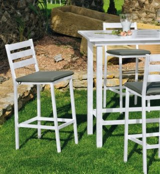 Ensemble Salon A Manger ANTHONYNA 130-4 en ALUMINIUM BLANC Coussins couleur GRIS FONCE INDOOR OUTDOOR 29444
