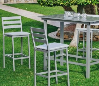 Ensemble Salon A Manger ANTHONYNA 130-4 en ALUMINIUM GRIS PLATA Coussins couleur GRIS CLAIR INDOOR OUTDOOR 29446