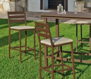 Ensemble Salon A Manger ANTHONYNA 130-4 en ALUMINIUM BRONZE MARRON Coussins couleur BEIGE INDOOR OUTDOOR 29447