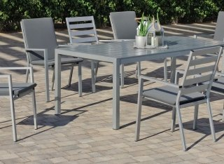 Ensemble Salon A Manger SARANA 200-8 en ALUMINIUM GRIS PLATA Coussins couleur GRIS FONCE INDOOR OUTDOOR 30117