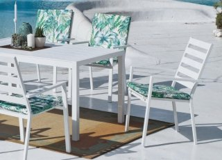 Ensemble Salon A Manger SARANA 150-6 en ALUMINIUM BLANC Coussins couleur SIVA TROPICAL INDOOR OUTDOOR 30119