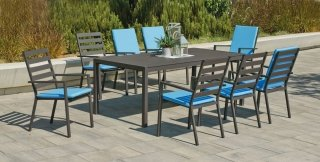 Ensemble Salon A Manger SARANA 200-8 en ALUMINIUM ANTHRACITE Coussins couleur TURQUOISE INDOOR OUTDOOR 30123