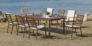 Ensemble Salon A Manger SARANA 200-8 en ALUMINIUM BRONZE MARRON Coussins couleur ALBA ECRU INDOOR OUTDOOR 30124