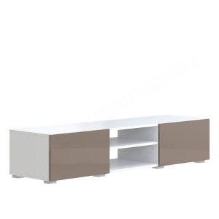 MEUBLE TV BLANC 2N 2T TAUPE LAQUE Podium SYMBIOSIS 3053A2113L02