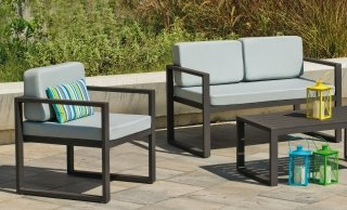 Ensemble Salon Sofa De Jardin ANDREANA 7 en ALUMINIUM ANTHRACITE Coussins couleur GRIS CLAIR INDOOR OUTDOOR 31246