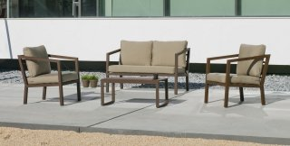 Ensemble Salon Sofa De Jardin AURANA 7 en ALUMINIUM BRONZE MARRON Coussins couleur MARRON ESTER INDOOR OUTDOOR 31457