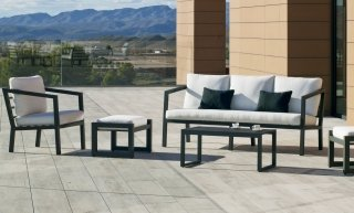 Ensemble Salon Sofa De Jardin AURANA 8+2 en ALUMINIUM ANTHRACITE Coussins couleur BLANC INDOOR OUTDOOR 31459