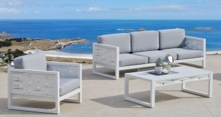 Ensemble Salon Sofa De Jardin AUXANA 8 en ALUMINIUM BLANC Coussins couleur GRIS CLAIR INDOOR OUTDOOR 31462