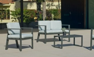 Ensemble Salon Sofa De Jardin AWENA 7 en ALUMINIUM ANTHRACITE Coussins couleur VERT MIRTA INDOOR OUTDOOR 31464