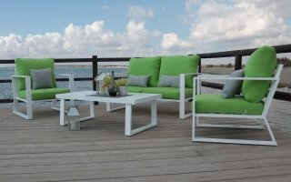 Ensemble Salon Sofa De Jardin AYANA 7 en ALUMINIUM BLANC Coussins couleur PISTACHE INDOOR OUTDOOR 31468