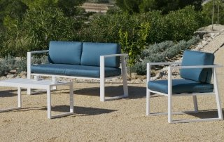 Ensemble Salon Sofa De Jardin AYLEEN 7 en ALUMINIUM BLANC Coussins couleur SAMIRA INDOOR OUTDOOR 31469