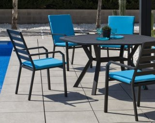 Ensemble Salon A Manger AYMA - ARGANA 150-6 en ALUMINIUM ANTHRACITE Coussins couleur TURQUOISE INDOOR OUTDOOR 31471