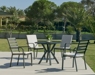 Ensemble Salon A Manger AYMA - ARGANA 110-4 en ALUMINIUM ANTHRACITE Coussins couleur ALBA ECRU INDOOR OUTDOOR 31472