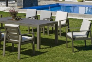 Ensemble Salon A Manger AZENORA 220-8 en ALUMINIUM CHAMPAGNE Coussins couleur ALBA ECRU INDOOR OUTDOOR 31474