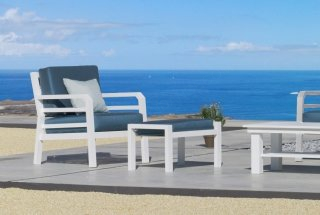 Ensemble Salon Sofa De Jardin AZENORA 7+2 en ALUMINIUM BLANC Coussins couleur SAMIRA INDOOR OUTDOOR 31476