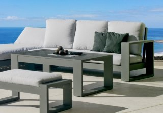 Ensemble Salon Sofa De Jardin AMAYES 8 en ALUMINIUM ANTHRACITE Coussins couleur GRIS CLAIR INDOOR OUTDOOR 31478