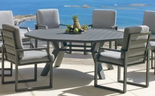 Ensemble Salon A Manger AMBERA - ANTINEA 200-8 en ALUMINIUM ANTHRACITE Coussins couleur GRIS CLAIR INDOOR OUTDOOR 31480