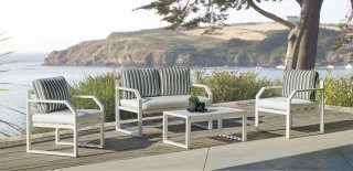 Ensemble Salon Sofa De Jardin AMZA 7 en ALUMINIUM BLANC Coussins couleur NAOMI INDOOR OUTDOOR 31482