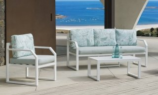 Ensemble Salon Sofa De Jardin AMZA 8 en ALUMINIUM BLANC Coussins couleur MIRTA DALIA INDOOR OUTDOOR 31483