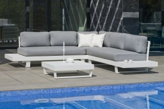 Ensemble Salon Sofa De Jardin ANASTACIA 2+2 en ALUMINIUM BLANC Coussins couleur GRIS CLAIR INDOOR OUTDOOR 31485