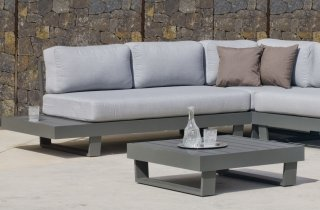 Ensemble Salon Sofa De Jardin ANASTACIA 2+2 en ALUMINIUM ANTHRACITE Coussins couleur GRIS CLAIR INDOOR OUTDOOR 31486