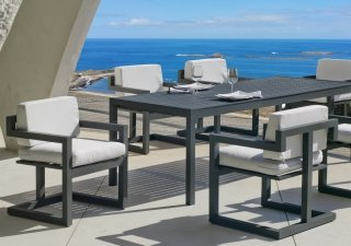 Ensemble Salon A Manger SARANA - APOLA 200-6 en ALUMINIUM ANTHRACITE Coussins couleur GRIS CLAIR INDOOR OUTDOOR 31488