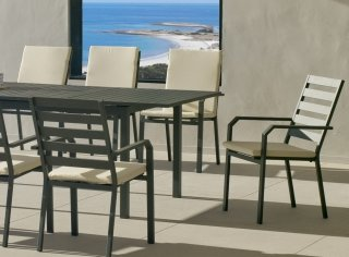 Ensemble Salon A Manger SARANA - ARGANA 220-8 en ALUMINIUM ANTHRACITE Coussins couleur BEIGE INDOOR OUTDOOR 31490