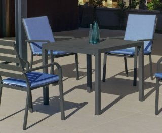Ensemble Salon A Manger SARANA - ARGANA 90-4 en ALUMINIUM ANTHRACITE Coussins couleur TURQUOISE INDOOR OUTDOOR 31491