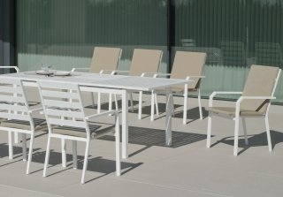 Ensemble Salon A Manger SARANA - ARGANA 220-8 en ALUMINIUM BLANC Coussins couleur ELSA INDOOR OUTDOOR 31492