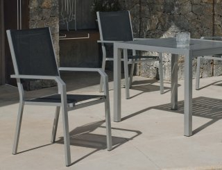 Ensemble Salon A Manger SARANA - GEMONA 90-4 en ALUMINIUM ANTHRACITE Textilène couleur NOIR INDOOR OUTDOOR 31494