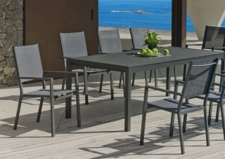 Ensemble Salon A Manger SARANA - RIMONA 200-8 en ALUMINIUM ANTHRACITE Textilène couleur GRIS FONCE INDOOR OUTDOOR 31497