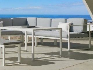 Ensemble Salon A Manger ANAELE 9 en ALUMINIUM BLANC Coussins couleur GRIS CLAIR INDOOR OUTDOOR 31500