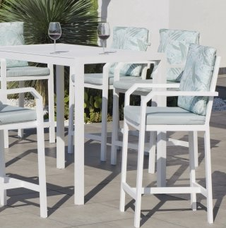 Ensemble Salon A Manger ANTHEA 150-6 en ALUMINIUM BLANC Coussins couleur MIRTA DALIA INDOOR OUTDOOR 31501